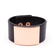 2017 New Hand Fashion PU Leather Bracelet Simple All Match MS The Light Panel Wide Women Wrap Bracelet Wristband(China)