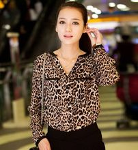 Free shipping 2016 New Arrival Women's Clothing Female star & leopard print loose long-sleeve shirt Ms stand collar Tops(China)