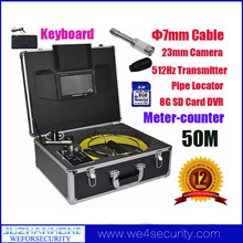 Pipe Locating Meter Counter Pipe Drain Inspection System With 50m Cable Color LCD 8GB SD DVR Keyboard Snake Borescope Endoscope