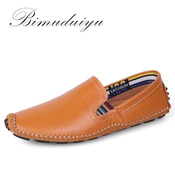 BIMUDUIYU Luz Super Suave Venta Caliente Planos Perezosos Zapatos de Conducción de Cuero Genuino Más Tamaño Respirable Ocasional Zapatos Hechos A Mano Para Los Hombres