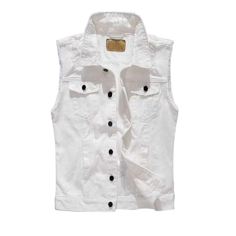 New Fashion Korean Style Ripe Denim Vest White Men Sleeveless Jacket Slimming Retro Jeans Vest Cotton Waistcoat Plus Size