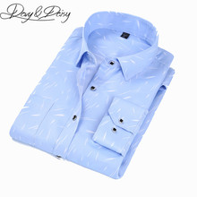 DAVYDAISY Men Shirt Turn Down Collar Long Sleeve Fashion Solid Floral Printed Plaid Solid  Brand Clothing Dress Shirt Man DS049
