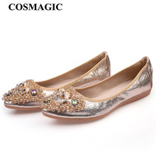 COSMAGIC New Women Crystal Ballet Flat Folding Shoe 2017 Casual Rhinestone Soft Driving Flat Dancing Egg Rolls Boat Shoes Loafer(China)