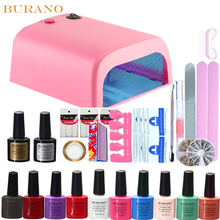 Burano 10 color uv gel polish 36w timer uv lamp manicure uv gel nail art diy nail tools sets kits nail gel kit 10colors