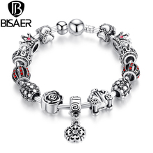 BISAER Pendants Bracelet AMP Bangle Lantern Crown Rose Car Flower Christmas Charm Bracelet Silver Color Women GO3071(China)