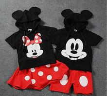 2017 New Summer Baby Boy Girls Kids Minnie  T shirt +Dress suit Mickey Mouse top blouse + pant set for boy