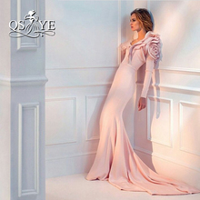 Special Occasion Dresses Long Sleeves 2016 Luxury Blush Mermaid Evening Dresses Ruffles Floor Length Formal Party Gowns