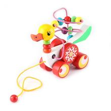 Baby Kids Wooden Animal Duckling Trailer Kids Wooden Toy Gifts Colorful Beads Children Early Educational Toy Gift(China)