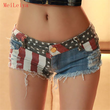meileiya Summer Low Waist Women Denim Short Pants Summer Flag Printed Party Slim Body Hole Decoration Jean Pant