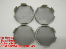 4pcs for Honda 58MM silver wheel cover caps Wheel Cover Car modified Center Cover logo wheel hub caps 08W14 SEL 7000 A3