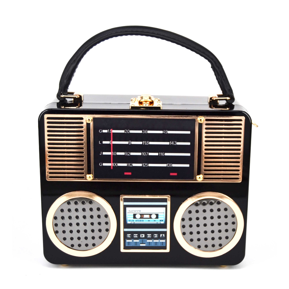 Retro Radio Style Ladies Handbag Acrylic Modeling Recorder Box Shape Bag Clutch Evening Party Bag Cross Body Shoulder Bag Purse<br>