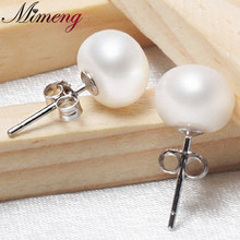 100% Real Freshwater Pearl and 100% Real Silver 925 Pearl Earrings 3 colors Free Shipping(China)