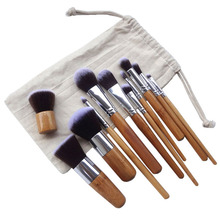 2017 New Arrival 11pcs Bamboo Brush Beige Linen Bag Beauty Wooden handle Soft Beauty Makeup Tools(China)