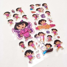 6pcs Cute Cartoon Bubble Stickers Party Supplies Dora The Explorer Kids 3D Puffy Stickers Toys School Rewards Scrapbook