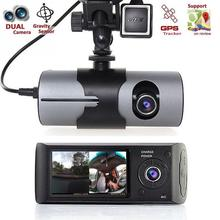 "Dual Camera Car DVR R300 with GPS and 3D G-Sensor 2.7"" TFT LCD X3000 Cam Video Camcorder Cycle Recording Digital Zoom(China)"