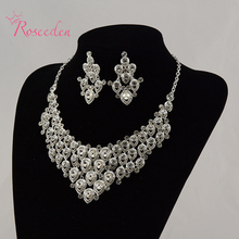 Fashion Korean Style Rhinestone Jewelry Sets Women's Waterdrop Wedding Jewerly Sets New Necklace and Earring Accessories RE23