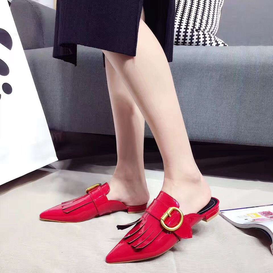 2017 New Black Red Patent Loafer Slippers Tassel Patent Leather Slides Slip on Shoes Fashion Fringe Buckle Decoration<br><br>Aliexpress