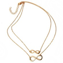 hot sale ! 2016 fashion women necklace Gold silver eight bar choker Necklace Simple Eight Infinity Symbol Necklace For Women(China)