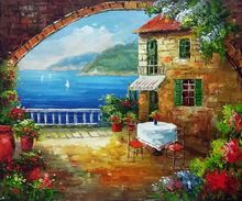 Modern Mediterranean Landscape Decorative Art Oil Painting Wall Painting on Canvas Cafe At Oceanside 100% Hand Painted Artwork
