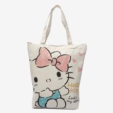 Cartoon Hello Kitty Canvas Shopping Bag Portable Large Capacity Handbag Ladies Shoulder Bag Variety With Zipper Wholesale Price