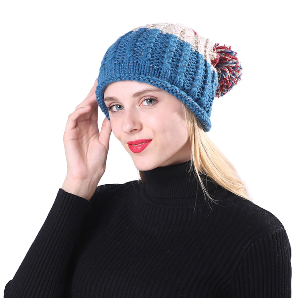 Womens Hats Cable Knitted Pom Wooly Cap Bobble Hat Plain Mens Womens ... 95a1c4a7d30