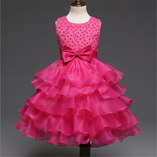 Wedding Ceremony Costume Prom Dress For Little Girl 3-10 Years Pleated Dress Teenage Girls Dinner Outfits Formal Occasion Wear