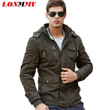 LONMMY M-4XL 2017 Winter jackets mens coats Army Hoods Thick wool liner Cotton Military jacket men coat jacket Brand clothing
