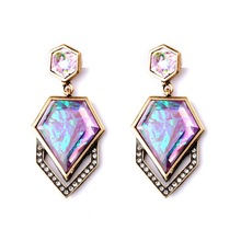 2016 New arrival gift Rhinestone Earring Fashion retro Novalty Opal Green Purple Faux Stone Ear Stud Earrings For Women party