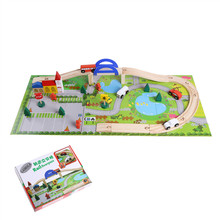 40Pcs/set Preschool Urban Rail Toy Overpass Traffic Scene Children Educational Wooden Toy Train Track Railway Toys Set CX884355