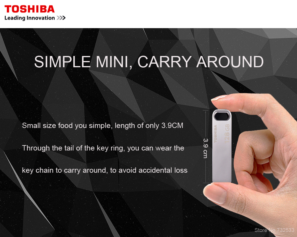 TOSHIBA USB3.0 U363 USB Flash Drive 128GB 64GB 32GB  Metal Waterproof Pen Drive Key Ring Stick Pen driver Storage Device U Disk