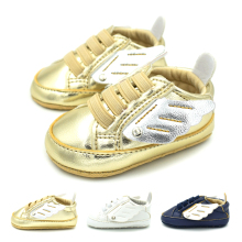 NEW Wings Design Baby Shoes Children Non-Slip First Walkers Kids PU Leather Prewalker Soft Sole Shoes(China)