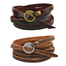 2 Colors Styles Choice Unisex European Fashion Twine Leather Bracelet One Piece Wounded Men Leather Bracelet Minimalist Style