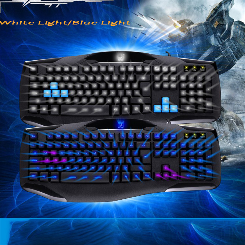 USB Wired Backlight Backlit Keyboard Professional Gaming Gamers LOL Dota2 for PC Computer Waterproof Blue White Light