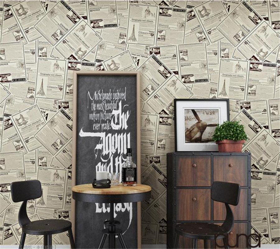 Beibehang Modern Decorative 3D Wallpaper Retro English Old Newspaper Wallpaper Living Room Bedroom Background Wallpaper roll<br>