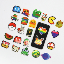 25pcs Mosaic Style Sticker Pixel Mario Game Sticker Luggage Case Cartoon Sticker(China)