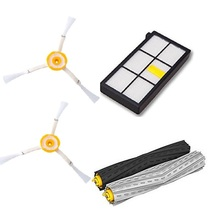 1 Tangle-Free Debris Extractor Set & 2 Side Brushes &Hepa Filter For iRobot Roomba 800 series 870 880 980 Vacuum Cleaning Robots