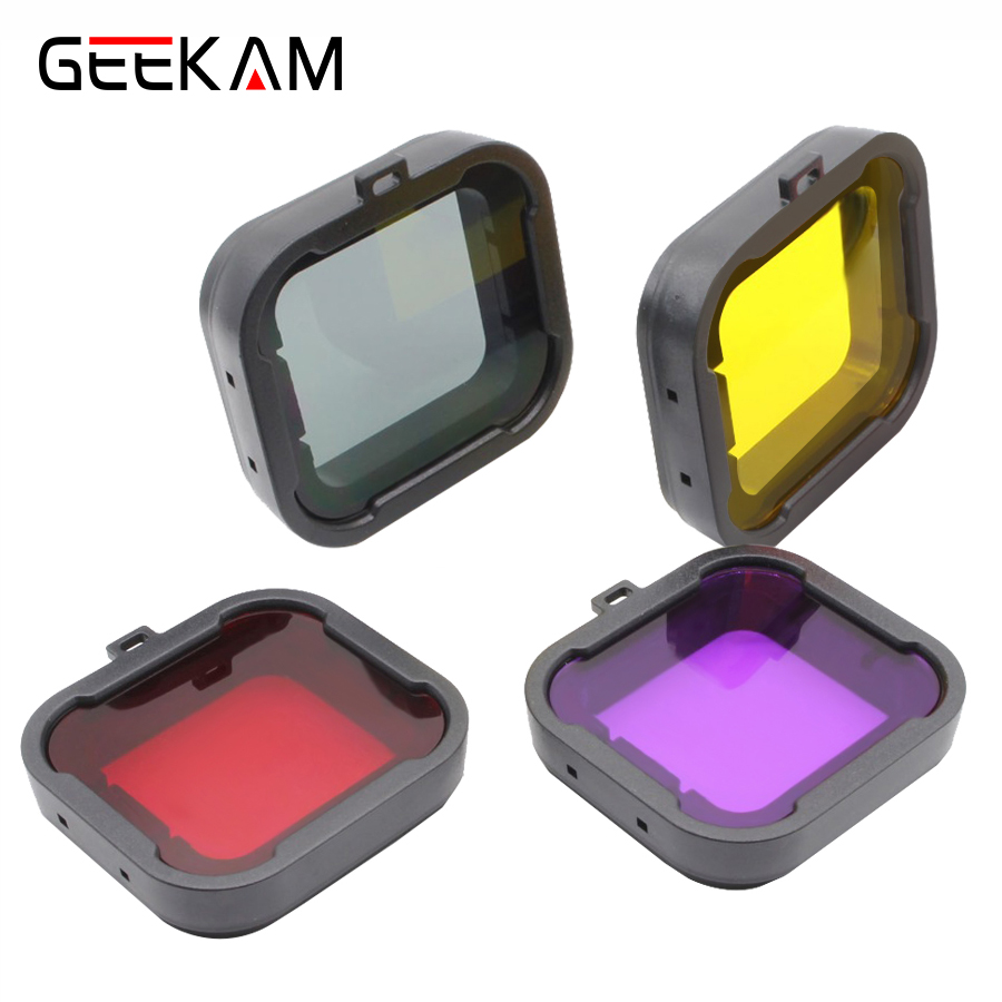 4 Colors/lot Lens Filter Diving Filter Gopro HERO 3+ 4 Camera Housing Case Underwater Lens Converter GoPro Xiaomi Yi