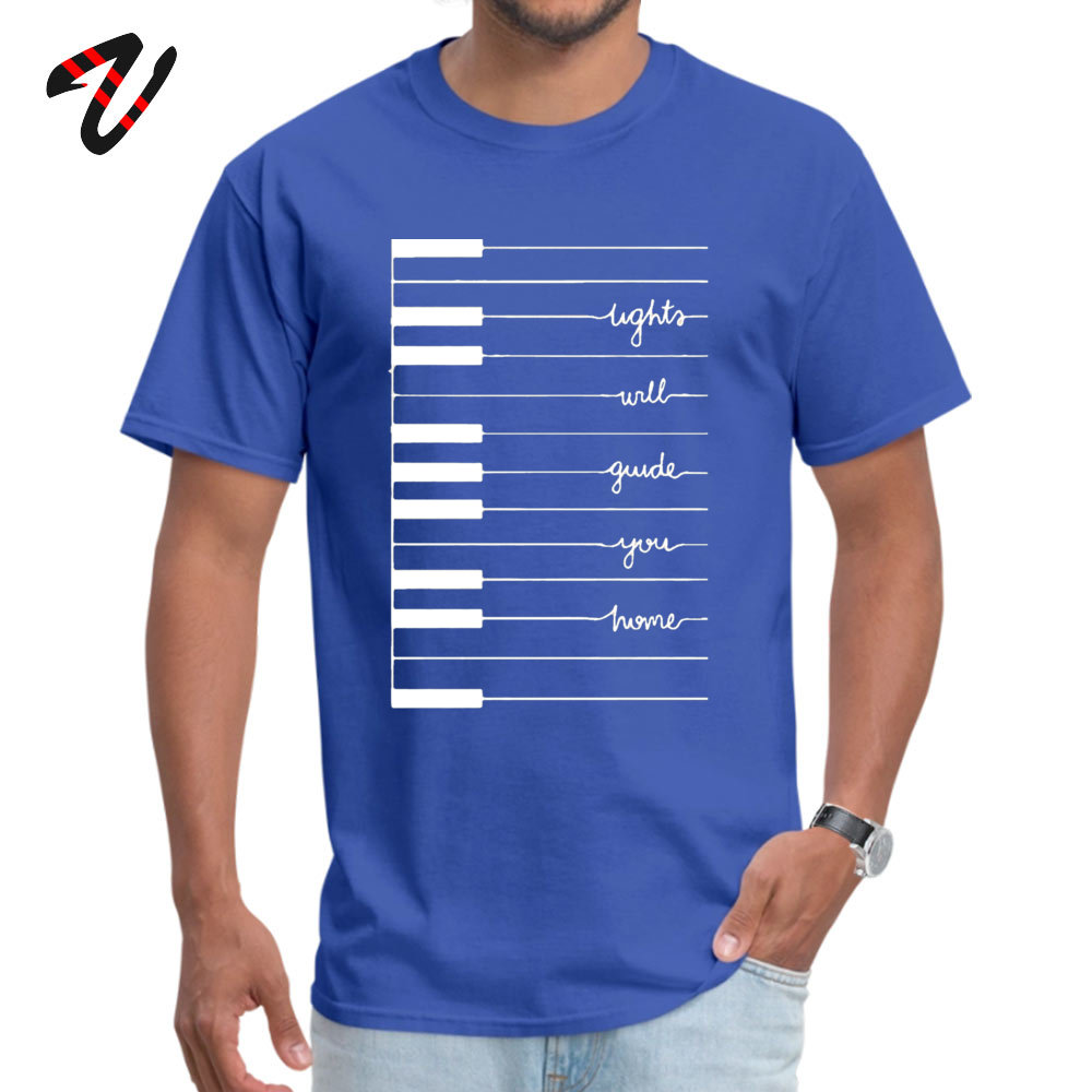 Man Cute Funny T Shirt Round Neck VALENTINE DAY 100% Cotton T Shirts Unique Short Sleeve Fitness Tight Tops Tees lights will guide you home 12521 blue