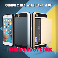 For Iphone 5 5s 5SE 6 6s Plus 7 Armor Phone bag Case shockproof new Heavy Duty Slide Wallet Credit Card Slot smartphone cover