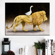 Large size Printing Oil Painting goose loved leo Wall painting Wall Art Decoration Picture For Living Room painting No Frame