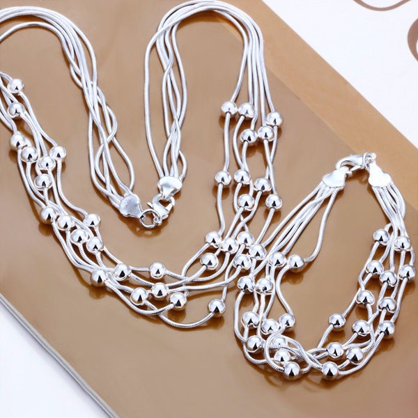Hot-Sale-Wholesale-Silver-Fashion-Jewelry-Set-Five-Line-Light-Bead-Silver-Necklace-Bracelet-Set