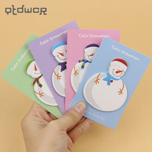 4PCS/Lot Cute Kawaii Korean Snowman Christmas Gift Planner Stickers Sticky Notes Memo Pad Post It School Stationery Supplies