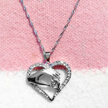Mom Necklace Mother Love Baby Child Heart Pendant Mothers Day Necklace Cheap Silver Costume Jewelry N265