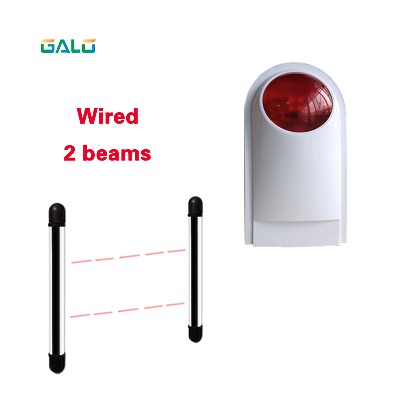 Flash light with Wired 2Beams Sensor Active Infrared Intrusion Detector Outdoor Perimeter Wall Barrier Fence system<br>