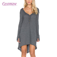 Buy Coromose Automn Empire Waist T-shirt Dresses Vestidos V-neck Loose Boho Dress Tunic Female Long Sleeve Gray Beach Dresses for $10.20 in AliExpress store