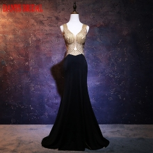 Sexy Black Long Mermaid Evening Dresses Luxury Party Beaded Beautiful Women Prom Formal Evening Gowns Dresses Wear