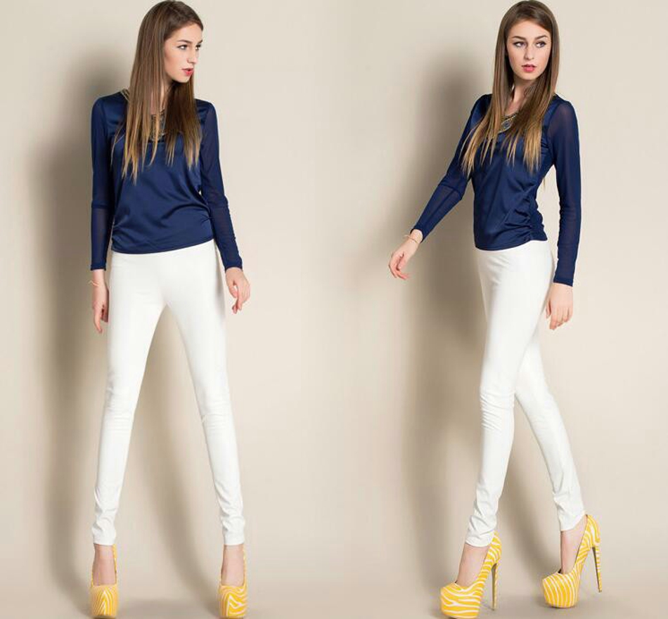Leggings winter Women High Waist PU Leather Legging Slim Faux Pants Female Fashion Warm Leggings Women 070209