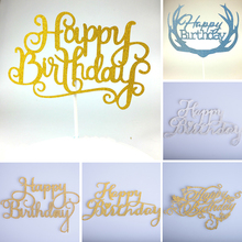 1pc Happy Birthday Cupcake Cake Topper Different Shape Color Cake Flags Festival Birthday Party Decorations For Family Friends