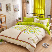 bedding set 4pcs duvet cover sets green sheet a tree printed soft skin friendly twin full queen single double size free shipping