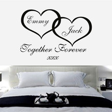 W144 Together Forever - Personalised Hearts Wall Art Sticker bedroom sticker / Wall Decal Vinyl living room decoration
